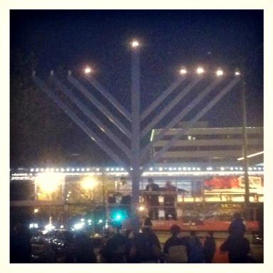 The lighting of the chanukkiah