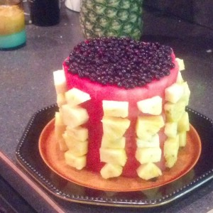 Raw fruit birthday cake